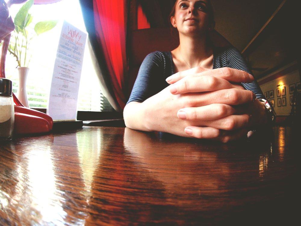 Kate waits for pad Thai - The Atlanta restaurant