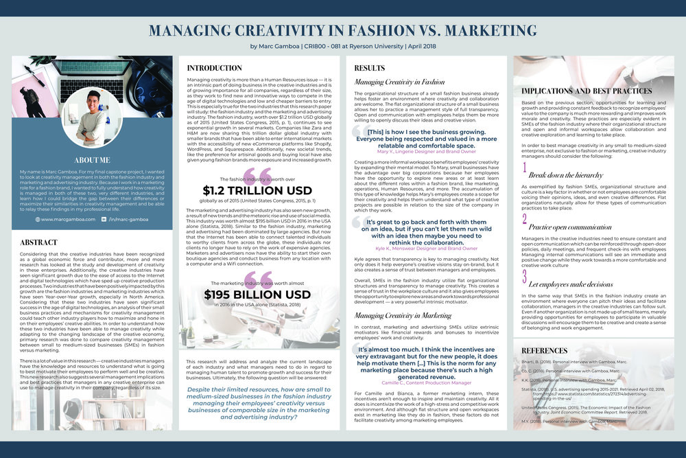 My research poster presenting my findings for my Creative Industries Capstone project.
