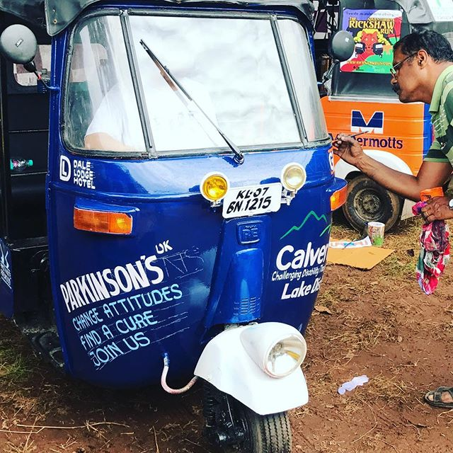 Preparations are underway for Going The Distances noble steed.....as the local artists do their magic!! #parkinsonsuk #calverttrust #goingthedistance #rickshawrun2017 #workingprogress #3500km #14days #7hp #parkinsonsawarness #rickshaw #india #trueart