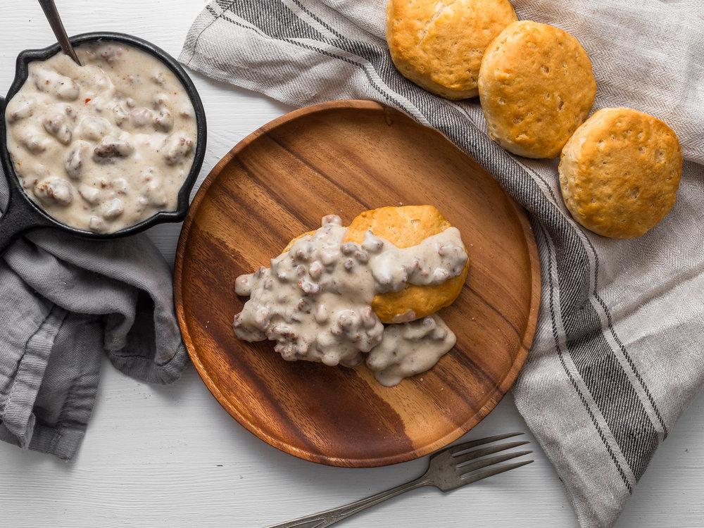 Portland food photographer Jeremy Pawlowski Southern Food Biscuits Gravy