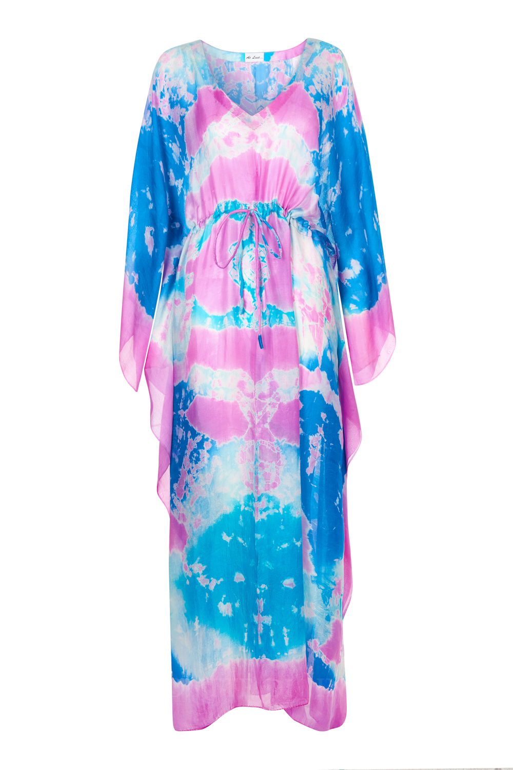 At Last Bella Silk Kaftan - Turquoise and Pink