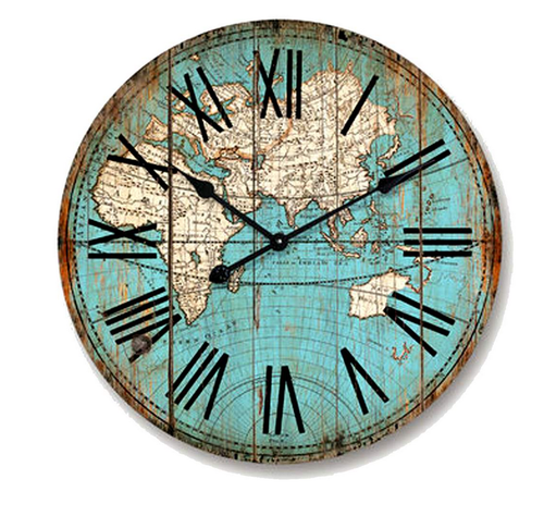 Clock mdf world map exposure home clock mdf world map gumiabroncs Image collections