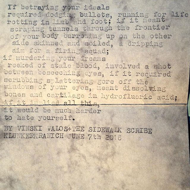 "Puppy-eyed Icelandic boy: ""Could you write me one about... murder, hate, and betrayal?"" ""Sure. Coming up!"" #typewriterpoetry #instapoets #typewriter #murder #betrayal #desertion #hate #self-hate #streetwriters #ideals #sticktoyourdreams #breakingbad #gore #cleaningup"