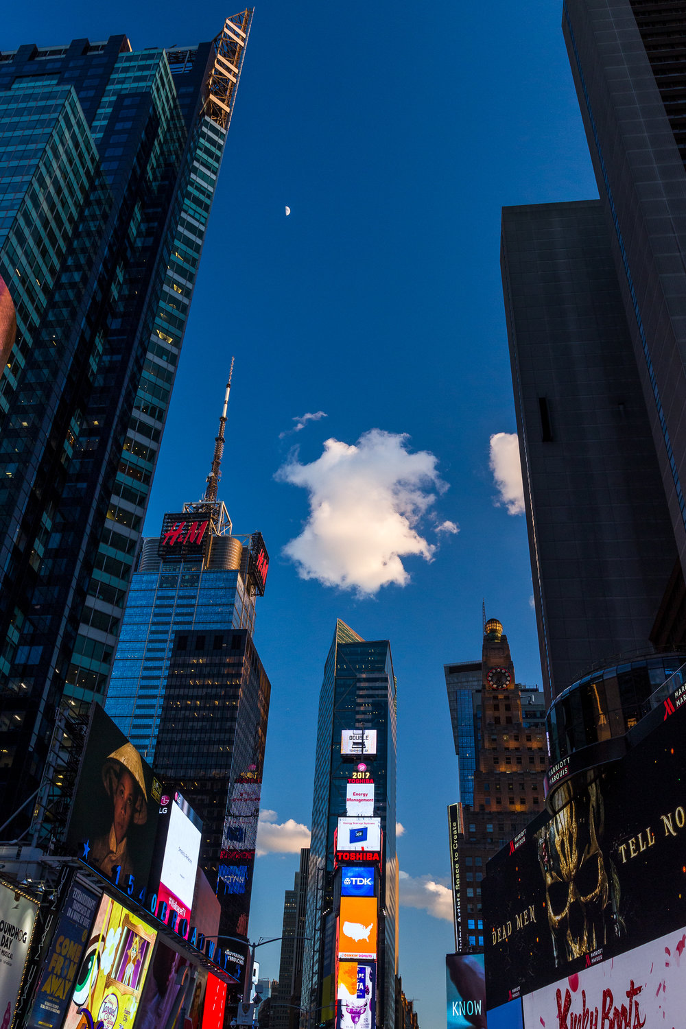 Times Square with a little Germany shaped cloud hanging over it. Not suspicious at all, Germany.