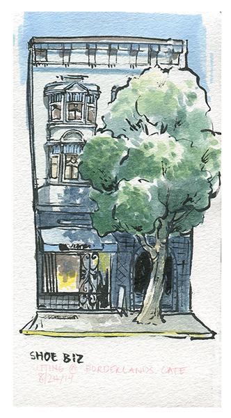 Watercolors+Brushpen Plein air urban sketching at Borderlands Cafe, San Francisco, CA.