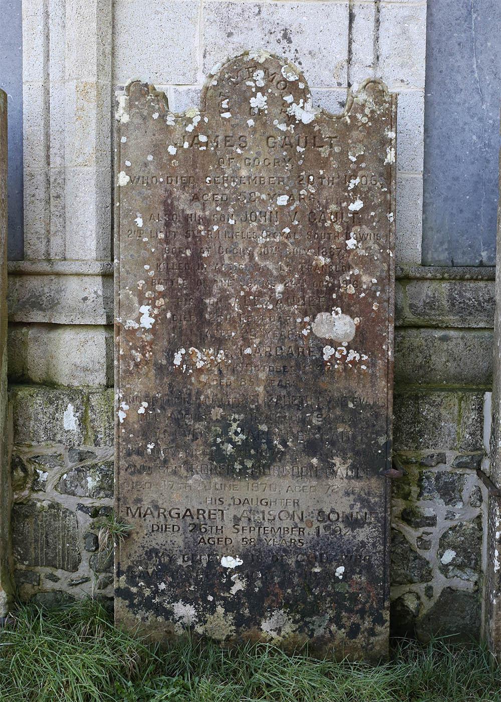 Gault family headstone in Kilbride New Cemetery