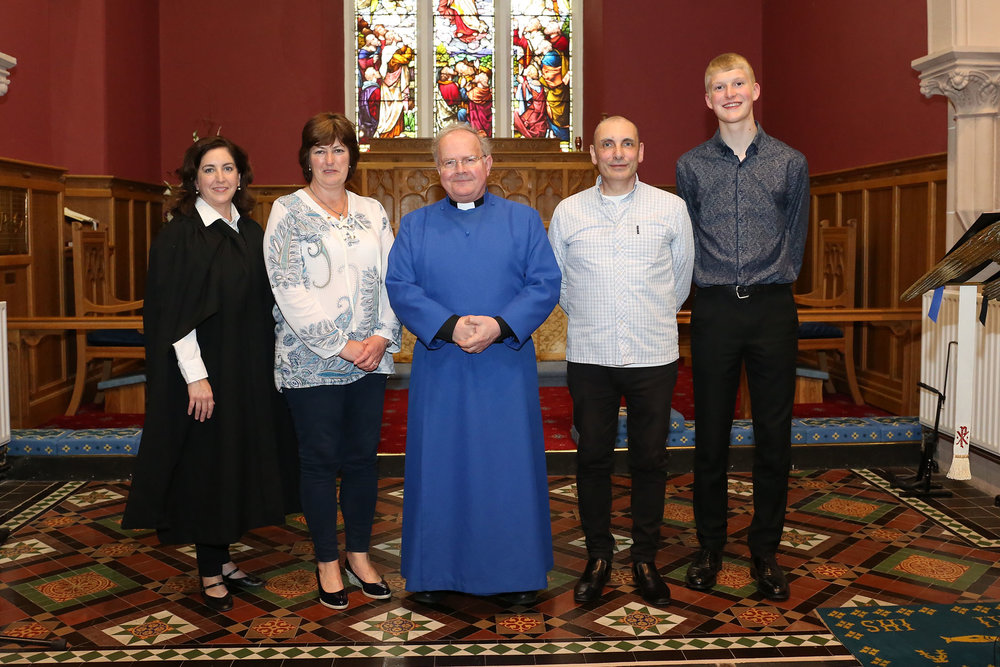 Scholars of the Down & Dromore and Connor Organ Scholarship Scheme - Beth Aiken, Vivien McCullough, Rev. Canon David Humphries (chairperson), David McClelland and Jamie Howe.