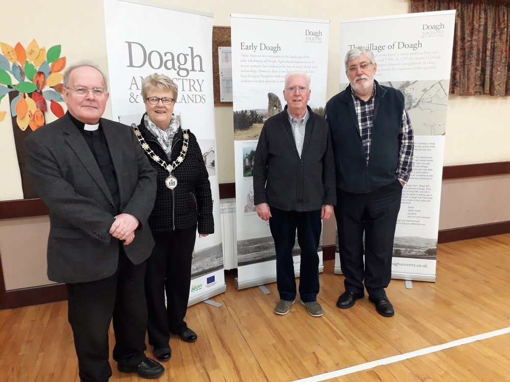 L to R: The Rector, Deputy Mayor of Antrim & Newtownabbey Council Councillor Vera McWilliam, Alex Hill and Bob Adams.