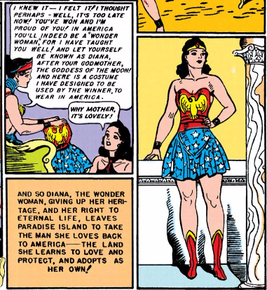 Wonder Woman, gazing towards the future at the end of ALL STAR COMICS #8.