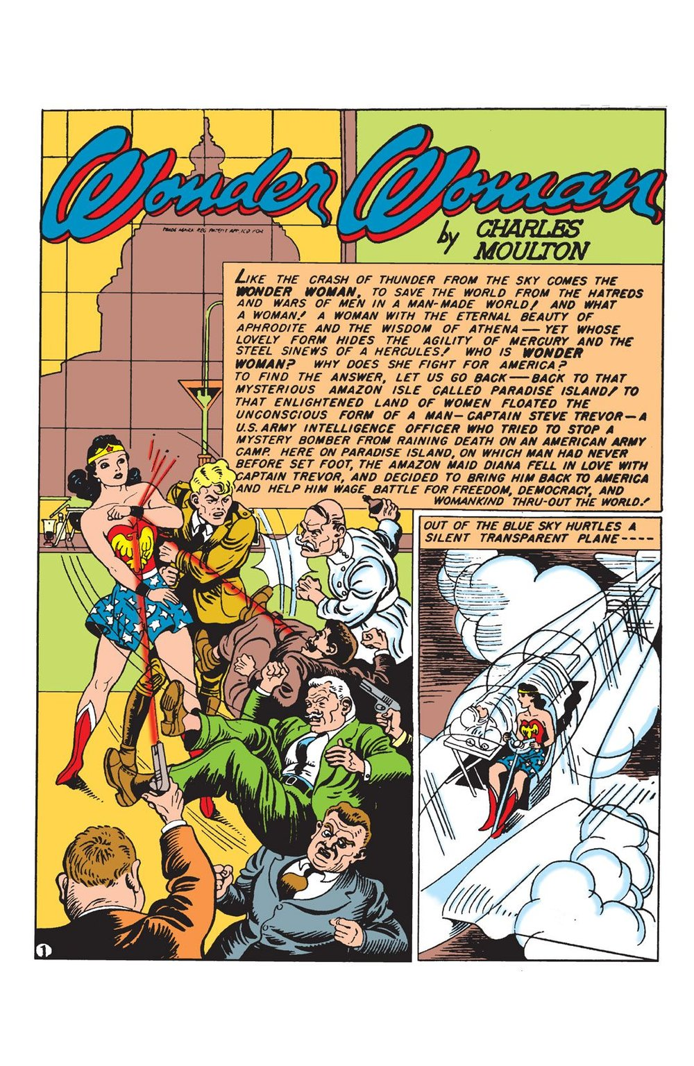 SENSATION COMICS #1 features a classic Harry Peter splash.