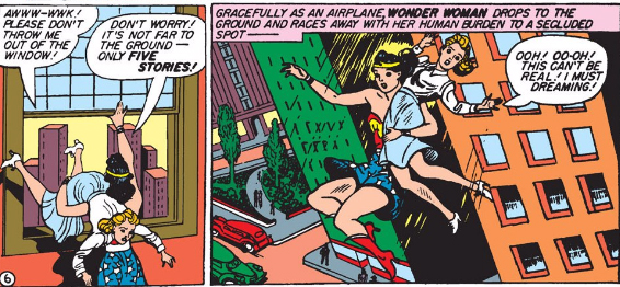 Wonder Woman is very into jumping out of windows in this issue.