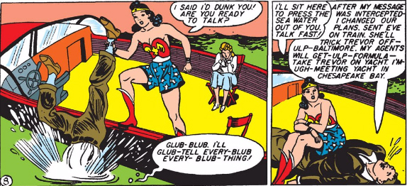Peters continues to be an all-star at drawing people in clothes. Wonder Woman continues to be an all-star at dunking people.