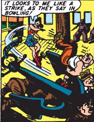 Wonder Woman doing things that would definitely just kill people.