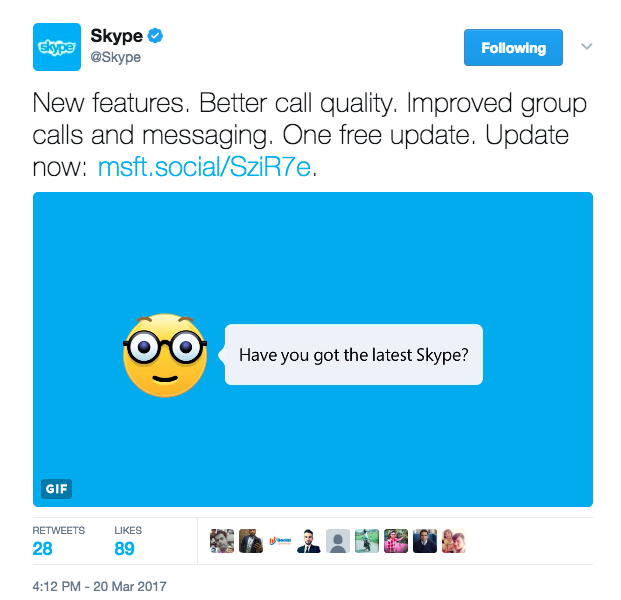 A GIF in which the emoji talked to the reader about the new Skype