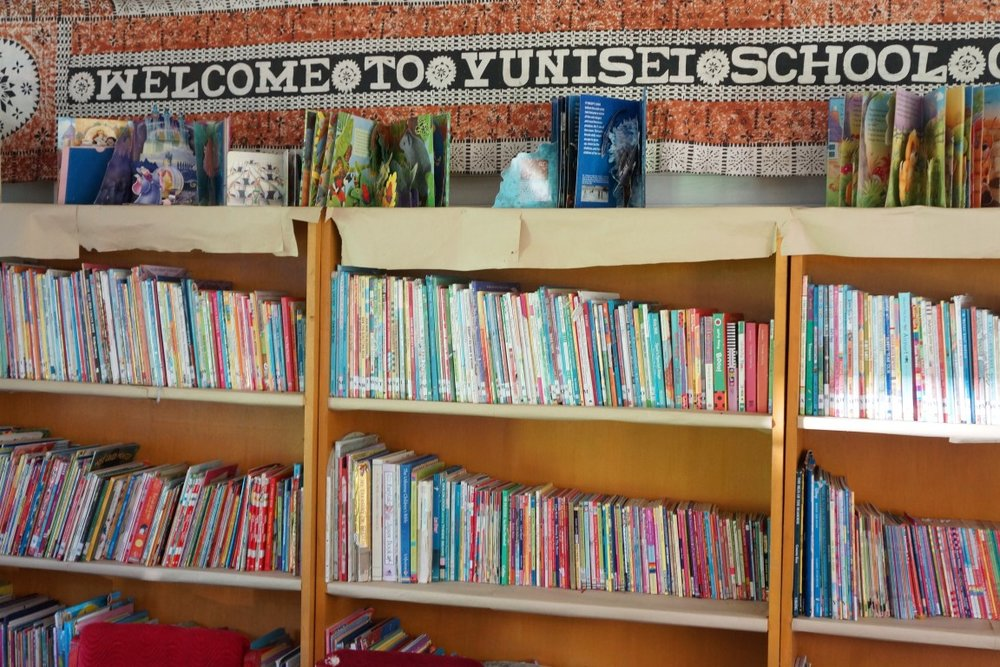 Vunisei District School library, all books donated by Fiji Book Drive.