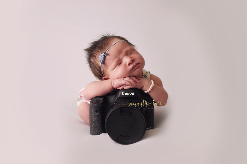 Baby girl posed on a canon camera
