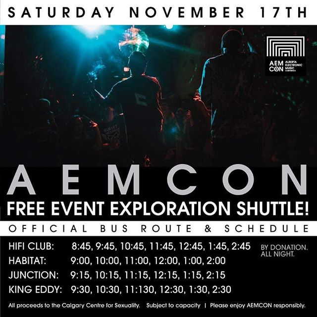 AEMCON and Bassbus are running a by donation event shuttle tonight starting at 8:45pm. The shuttle will circle all 4 event venues tonight until late. Night life tourism encouraged, maximize your conference wristbands and see it all.  All proceeds from tonight's shuttle will go to the Calgary Centre for Sexuality.  Day 4 baby! We're off to the races 😘