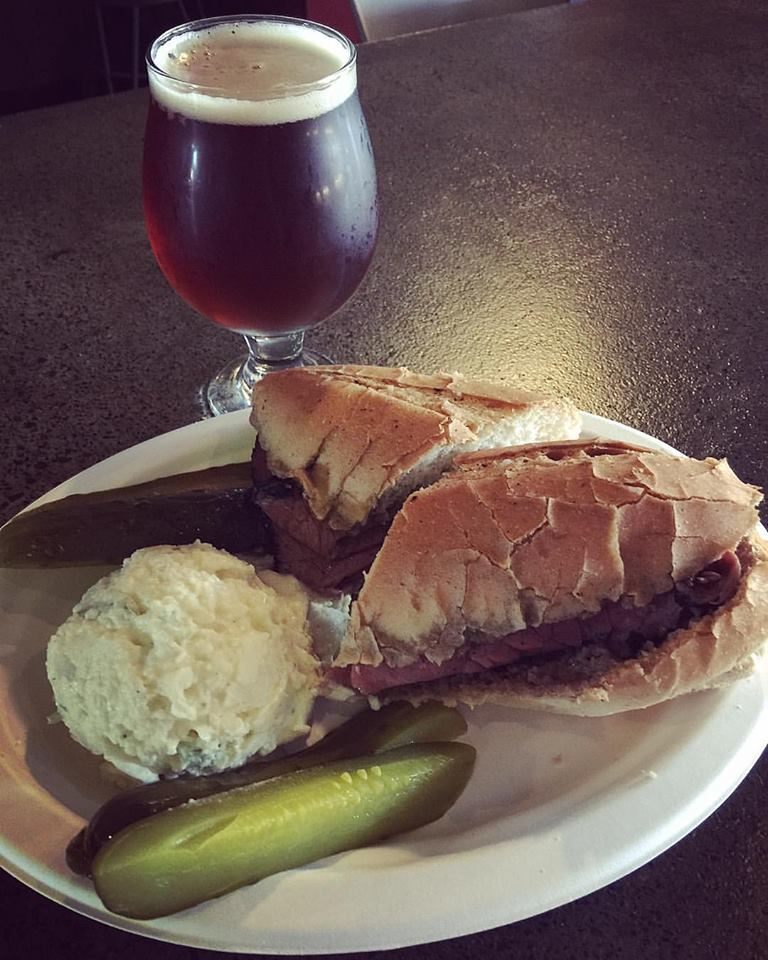 Our California, Not Common paired with the pastrami dipped sandwich & a side of homemade potato salad