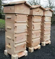 Warre hives are smaller per box, but are usually stacked higher than Langstroth.