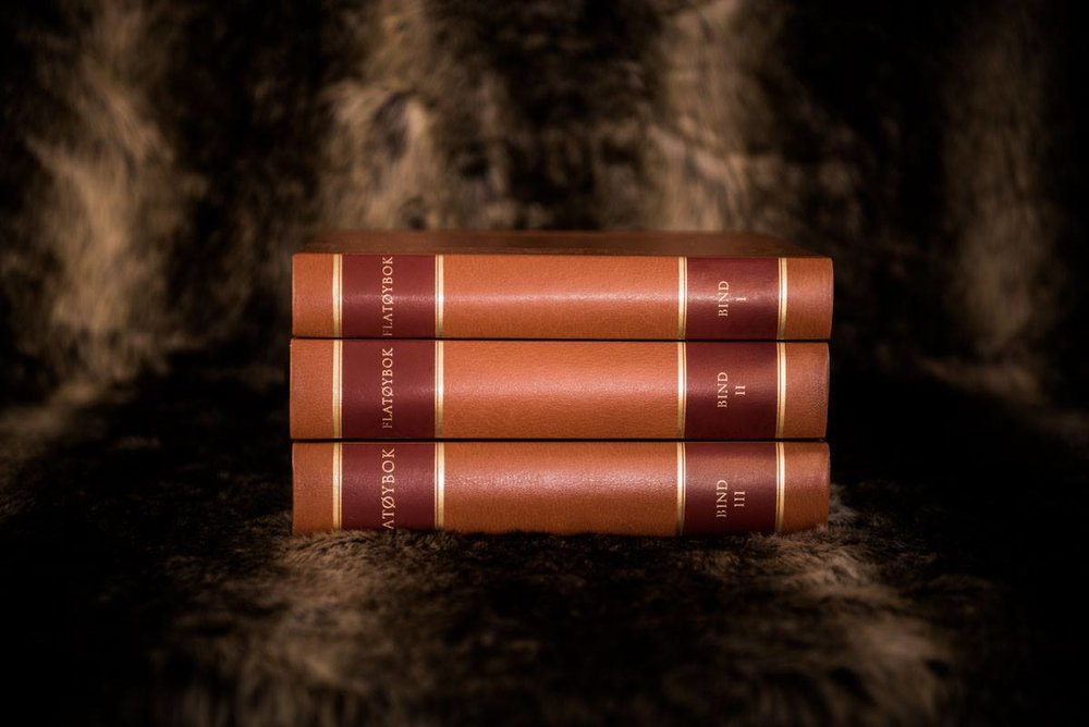 The new Norwegian edition of Flaetyjarbok, bound in leather.