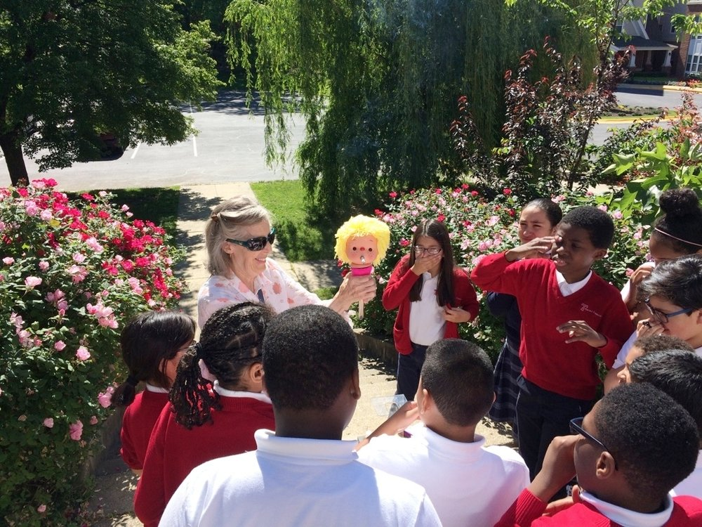 Sharon Klees RN and the Mr. Wroblewski's science students at St. Francis International School, Silver Spring, Maryland, May 16, 2017.