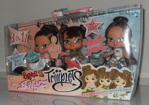 From left-to-right: Bratz Babyz Triiiplets (Second Edition) Sivan, Aira, and Kesara.