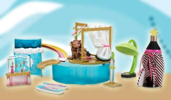 A prototype of the Bratz Kidz Summer Vacation Super Secret Water Park playset with Carlyn.