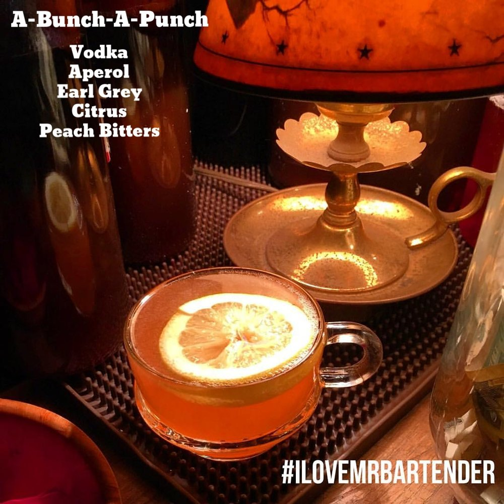 A-Bunch-A-Punch  Vodka ● Aperol ● Earl Grey ● Citrus ● Peach Bitters