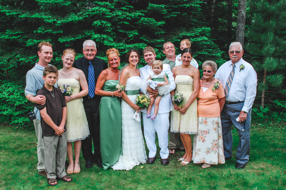Bride's family at outdoor summer wedding in Wisconsin