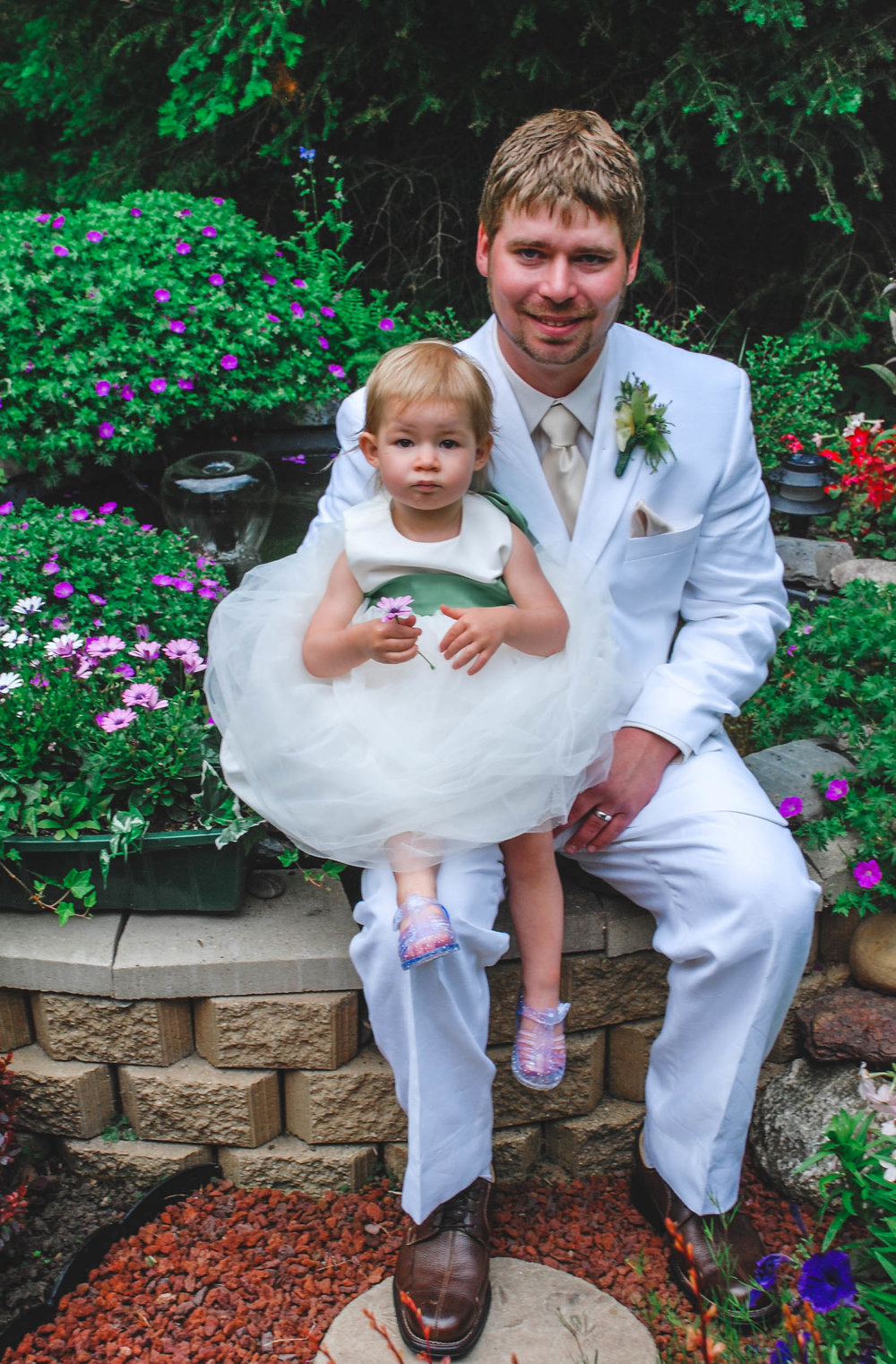 Daddy and daughter; groom and flowergirl