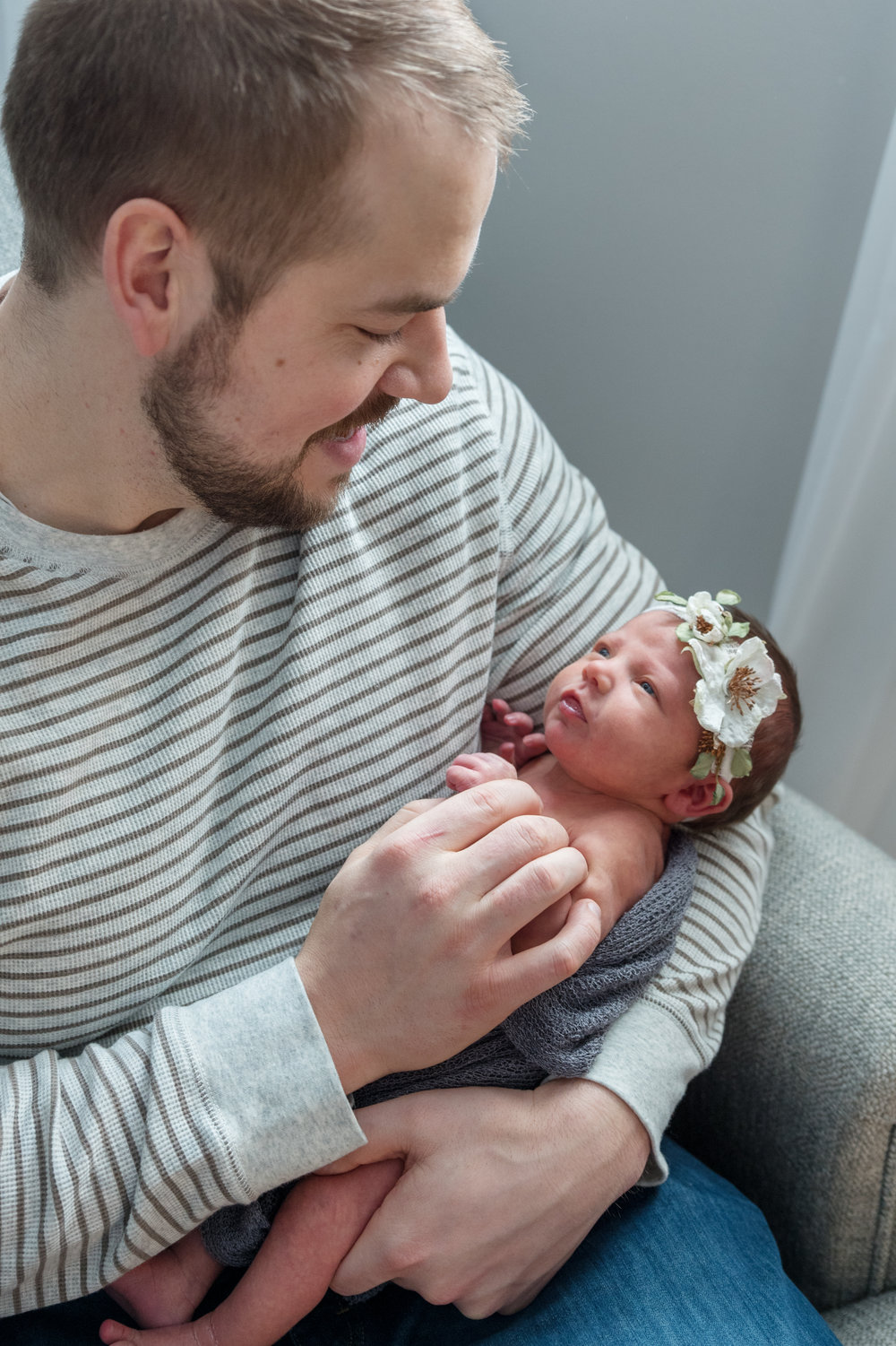 Father and daughter newborn photography