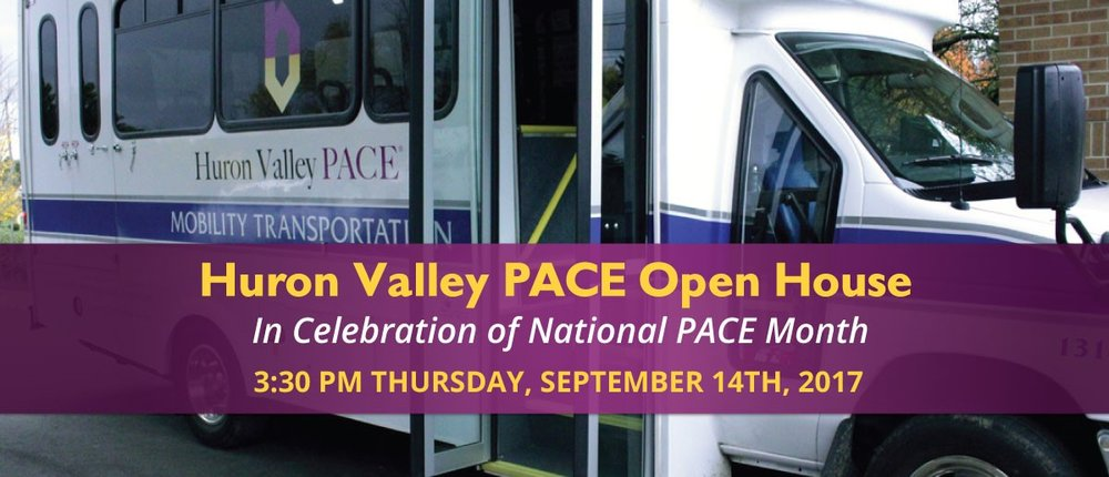 "The National PACE Association (NPA) has announced that September is National PACE Month. This will be the first year of what we hope will become an annual event.  The theme of the first National PACE Month will be ""PACE: Delivering Independence"" to celebrate the role of transportation in the PACE model of care. The ability to provide transportation is unique among long-term care providers. The contributions that drivers make to the PACE interdisciplinary team highlight the central role that the team plays in delivering care and services in PACE.   We hope that National PACE Month will generate more public interest in learning about the benefits of PACE.(npaonline.org)       Come to the Huron Valley PACE Open House for food, tours, and an inside look at PACE transportation!  Need more information?  Call us at 734-572-5777."
