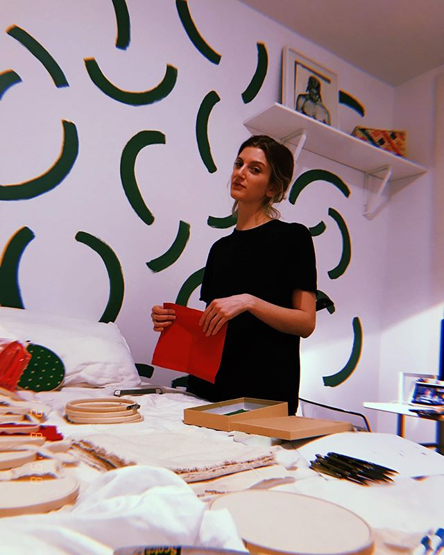 Aar sent me these photos last night of my resting bitch face. Tb to holiday workshop prep💫 📸 @aaraalto . . Been taking a major recess from social the last few months...looking for inspiration IRL🧜‍♀️🦄 . . . #whathappenedtothamagic #instagram #handmade #knotandstitch #embroidery #shopsmall #fiberart