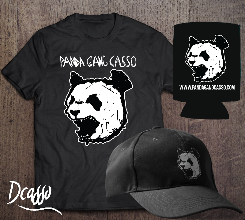 PANDA GANG SHIRT-HAT-KOOZIE BUNDLE - LIMITED QUANTITIES!COTTON SHIRT - EMBROIDERED HAT