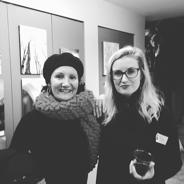 Supporting each other at the gallery show in #jackson #nh. So much great art. Although it was 22 degrees and dark at five. It was worth the trek. . . #femaleartist #femmefatalesnorth #colorsinspace #rklementovich #livefreeordie #modernart