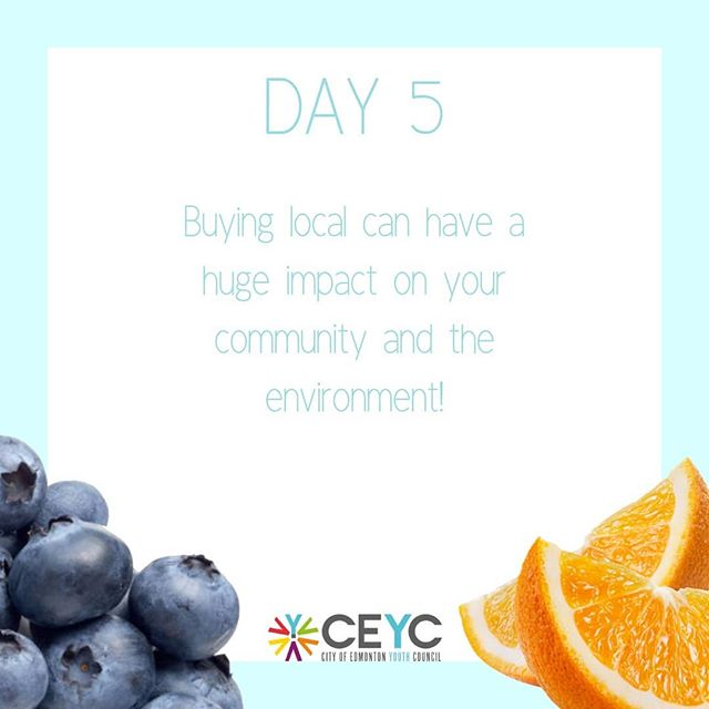 Day 5 is about buying local! Institutions such as Farmer's Market and Food Hubs help in purchasing local food to support the Canadian agriculture industry. Buying locally-grown foods eliminates the need to ship food halfway across the planet and as a result lowers emissions from transportation and waste from extra packaging. Not only is it better for the environment, but buying locally is also a healthier and tastier option to implement into your daily life! It's also a great way to connect with people and create a positive impact in your community :)