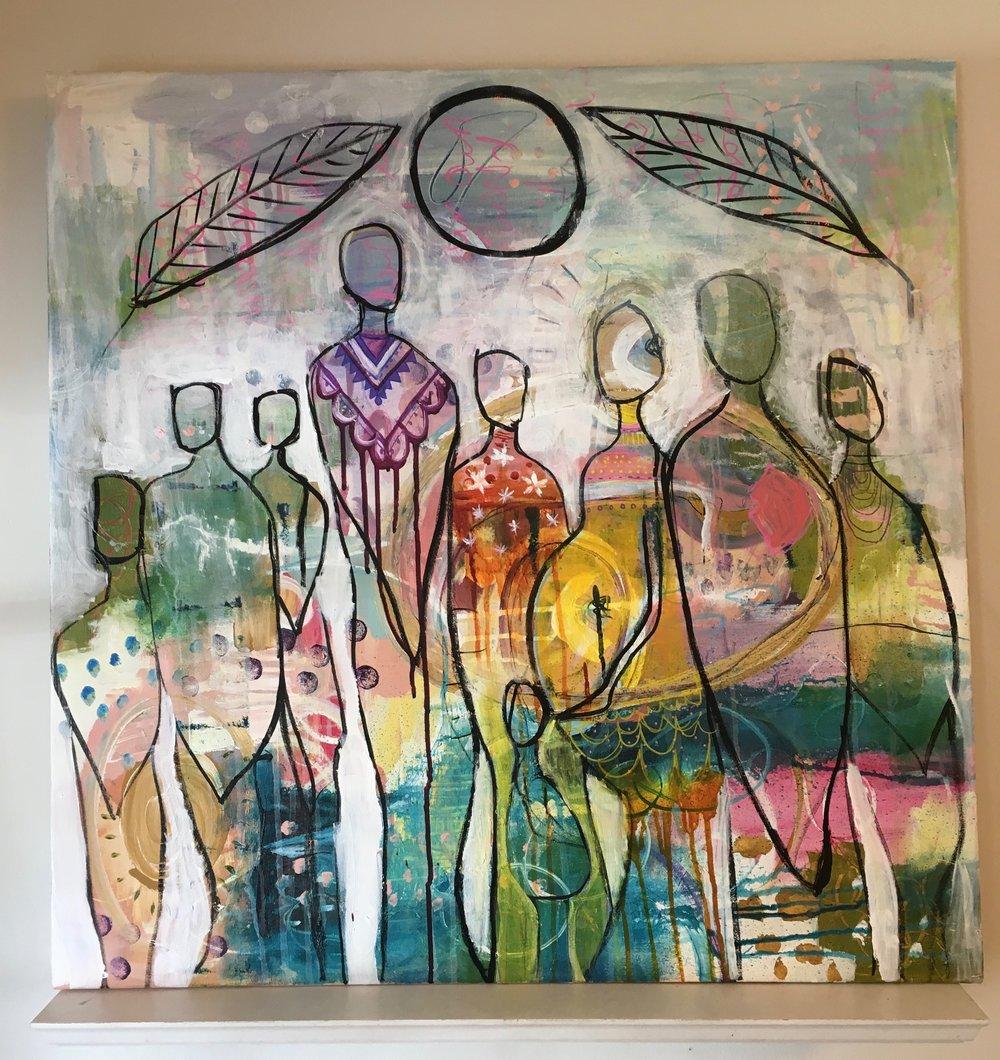 """ The Village""  acrylic on canvas  30"" x 30"""