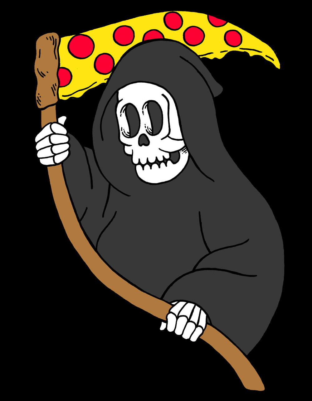 """Pizza Reaper"" soft enamel pin design. Pin produced by Metadope"
