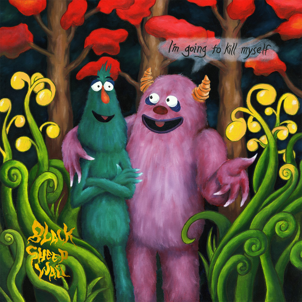 "Cover for Black Sheep Wall's ""I'm Going To Kill Myself."" I did the complete artwork and layout for the album. Release on CD. Oil paint on board."