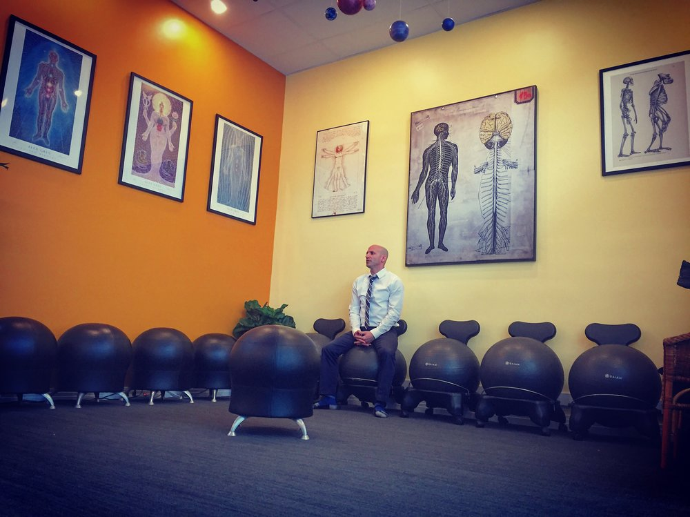 "Dr. Jeremy Brook's ""movement area"" has replaced the standard ""waiting area."" The Life Center Chiropractic, Los Angeles, CA"