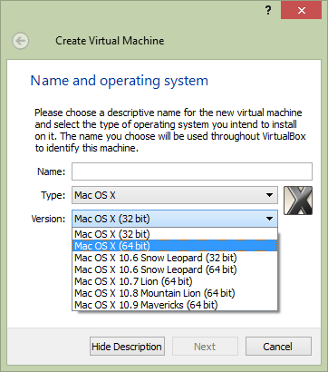 Create Virtual Machine Options