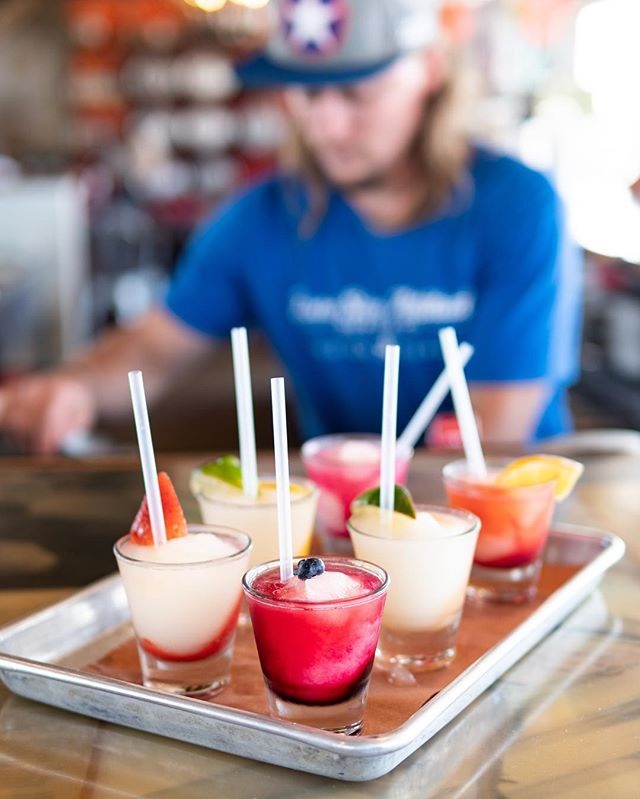 The only thing better than a margarita.. is six margaritas 😆 Come try our fruit-infused margarita flight tonight and end the weekend on a high note!