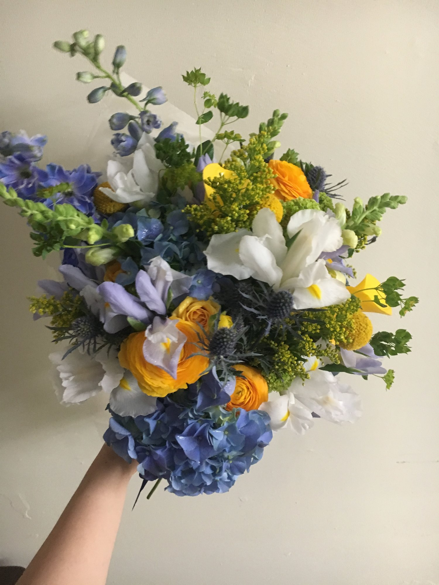 Maize Blue Wrapped Bouquets University Flower Shop