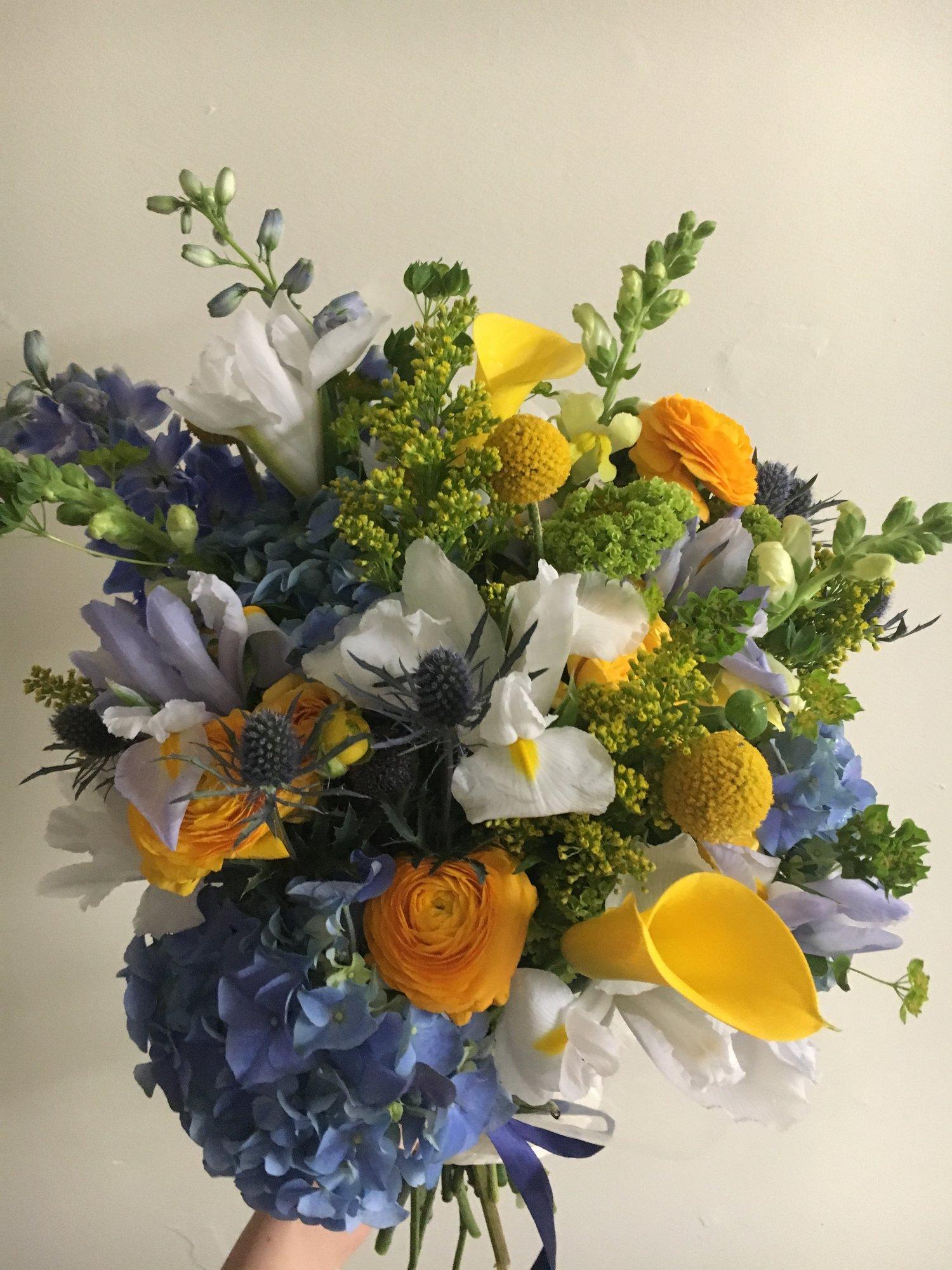 Maize Blue Wrapped Bouquets University Flower Shop