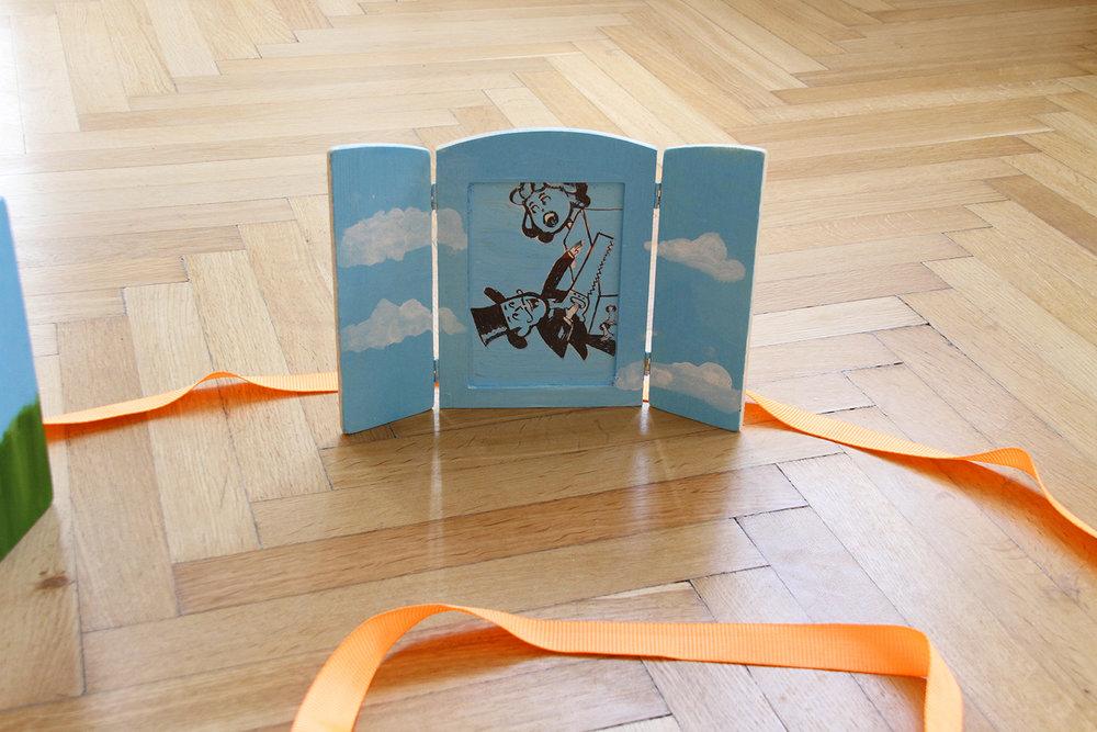 ROCK BOTTOM SHOW, Sophie Gogl, Ariadne's Domino Effect (Boy Scout Magician), oil on wood, 18,5 x 26,5 cm, 2017