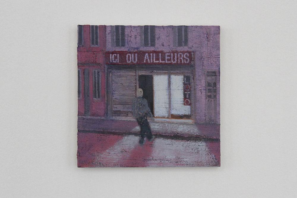 Ici Ou Ailleurs, 2017, oil on cardboard, 20 x 20 cm