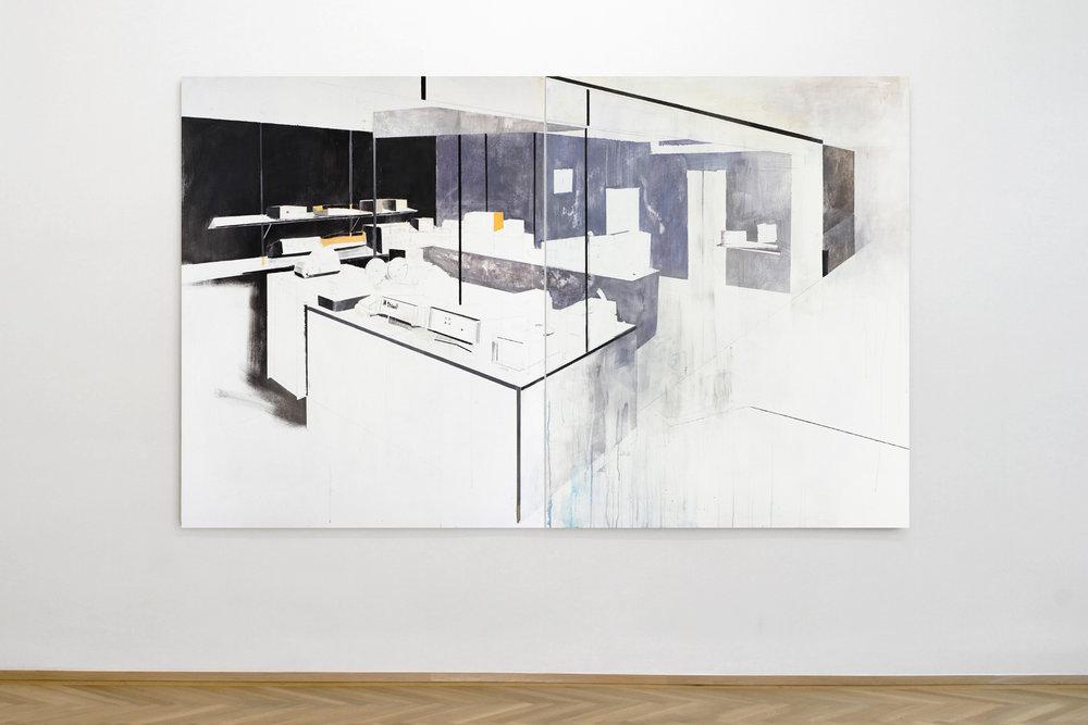 Agnes Fuchs, STAND (FAIR) No. 2, Representation System, 2013, Acrylic on canvas, 150 x 240 cm