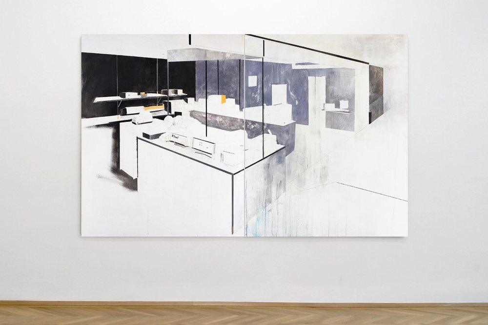 Agnes Fuchs, STAND (FAIR) No. 2, Representation System, 2013, acrylic on canvas, 150 x 240 cm