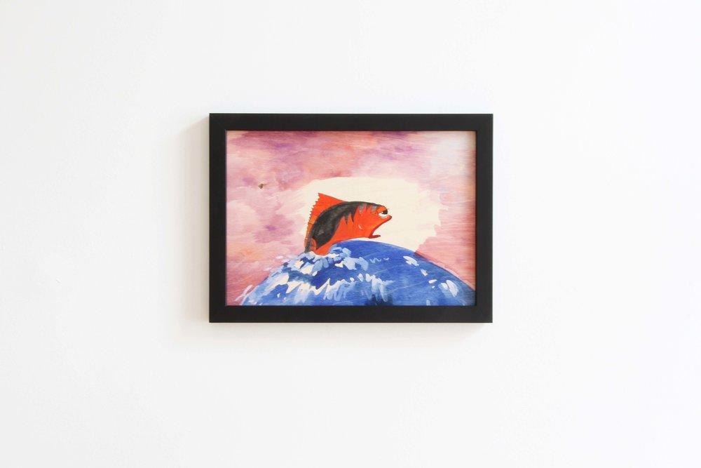 Ohne Titel (Fischli), 2018 Gouache on wood 21 x 29.7 cm