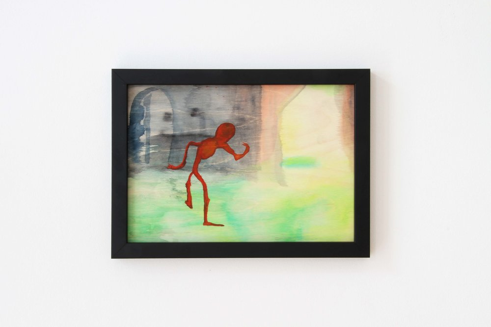 Ohne Titel (Danzig), 2018 Gouache on wood 21 x 29.7 cm